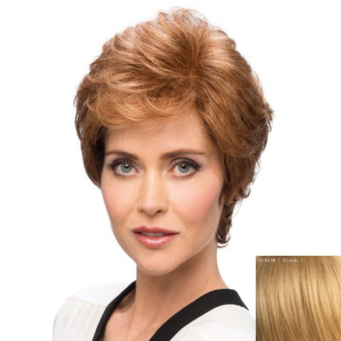 Online Bouffant Curly Side Bang Capless Elegant Short Human Hair Wig