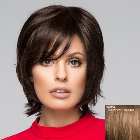 Best Fluffy Short Natural Straight Graceful Inclined Bang Capless Human Hair Wig For Women