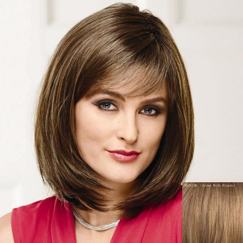 Fashion Bob Style Straight Capless Trendy Short Side Bang Real Human Hair Wig For Women