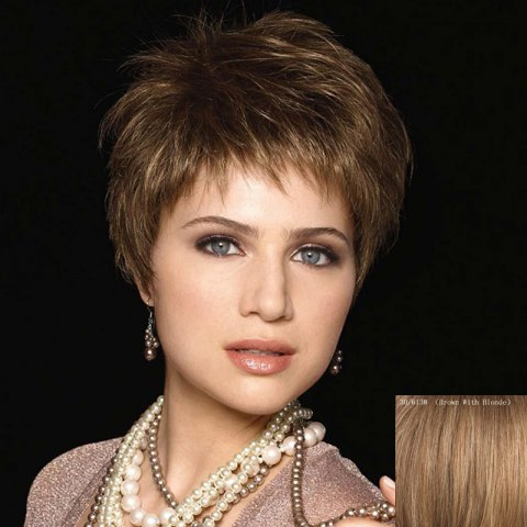 Discount Elegant Short Inclined Bang Vogue Straight Capless Real Natural Hair Wig For Women