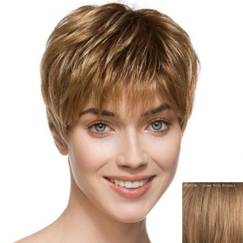 Outfit Spiffy Side Bang Capless Fluffy Short Natural Straight Human Hair Wig For Women - BROWN WITH BLONDE  Mobile