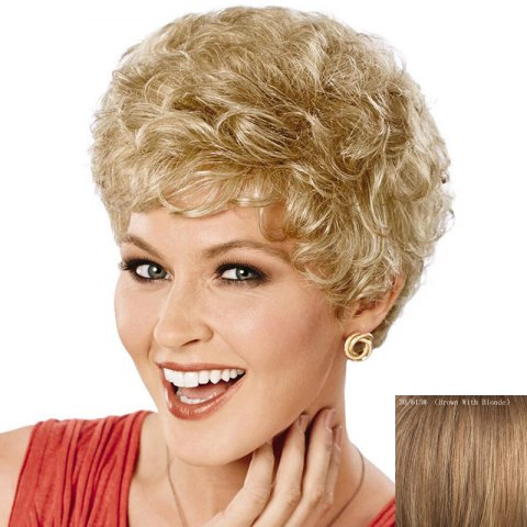 Shops Attractive Side Bang Real Natural Hair Fluffy Curly Short Wig For Women