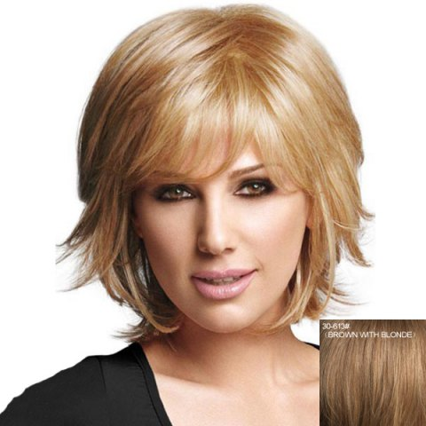 Affordable Graceful Short Side Bang Capless Fluffy Natural Straight Real Human Hair Wig For Women