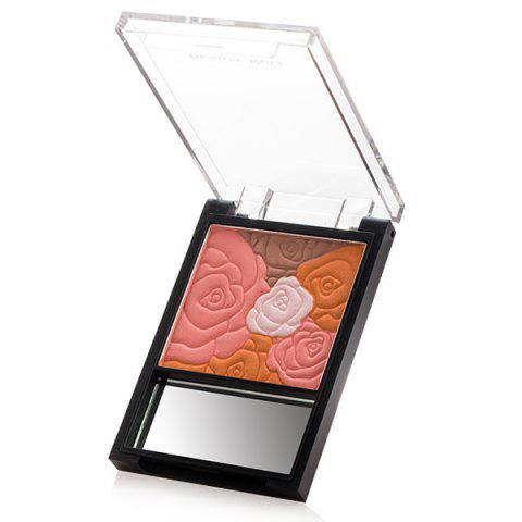 Best Stylish 4 Colours Rose Print Brighten Pearl Blusher with Mirror