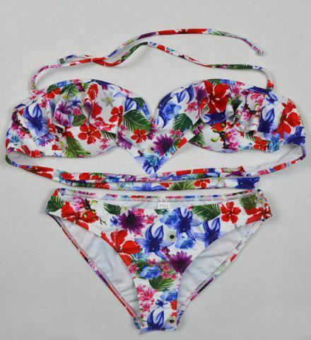 Chic Cute Lace-Up Floral Print Flounce Women's Bikini Suit
