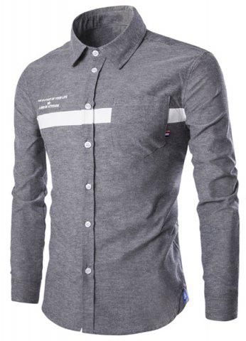 Buy Turn-Down Collar Stripe and Letters Print Long Sleeve Shirt For Men GRAY XL