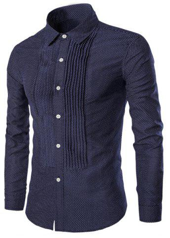 Unique Turn-Down Collar Wrinkle Design Polka Dot Long Sleeve Shirt For Men CADETBLUE L