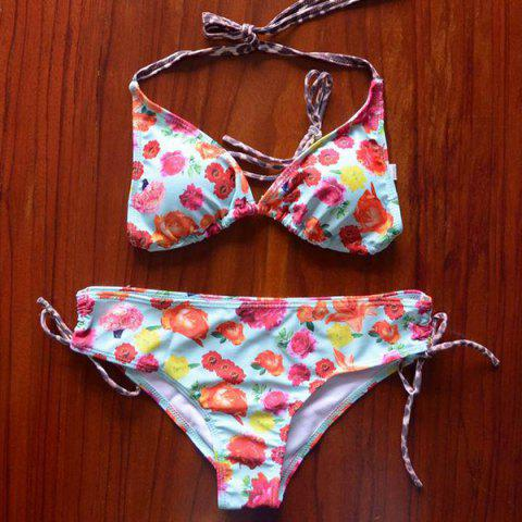Endearing Halter Floral Printed Bikini For Women - COLORMIX XL