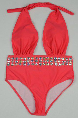Affordable Chic Halter Rhinestone Design One-Piece Swimwear For Women RED S