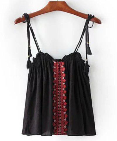 Cheap Ethnic Style Spaghetti Strap Embroidered Tank Top For Women