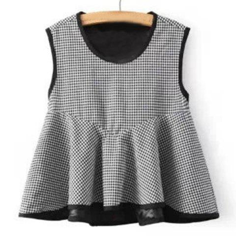 Sale Sweet Tiny Plaid Print Flounced Tank Top For Women