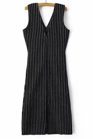 Affordable Trendy Plunge Neck Sleeveless Striped Slit Dress For Women