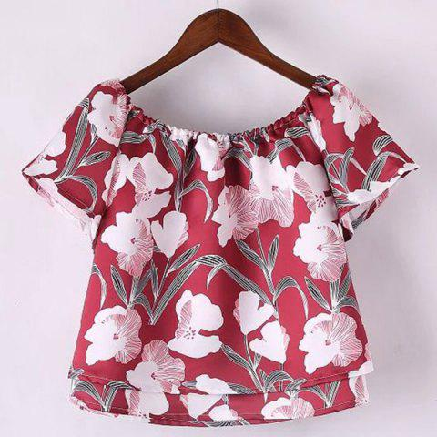 Online Sweet Slash Neck Floral Printed Cropped T-Shirt For Women