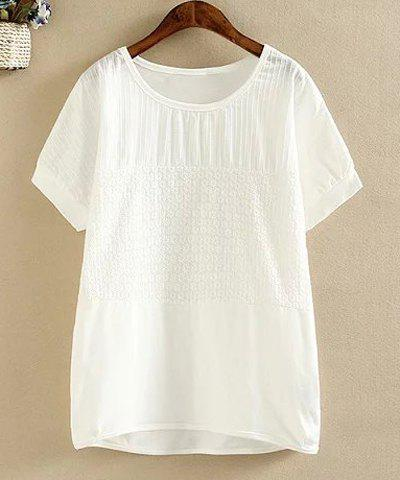Latest Simple Style Round Collar Short Sleeve White Loose T-Shirt For Women
