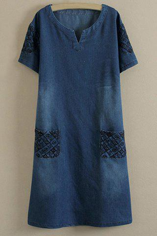 Discount Embroidered Casual Denim Dress With Pockets DEEP BLUE 2XL