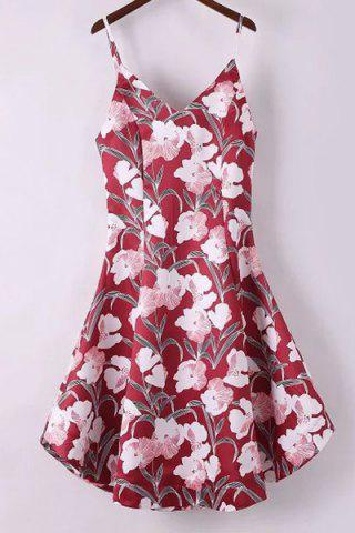 Store Spaghetti Strap A Line Floral Print Summer Dress RED S