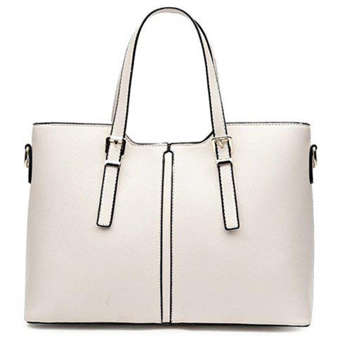 Cheap Concise Solid Color and Buckles Design Tote Bag For Women - OFF-WHITE  Mobile