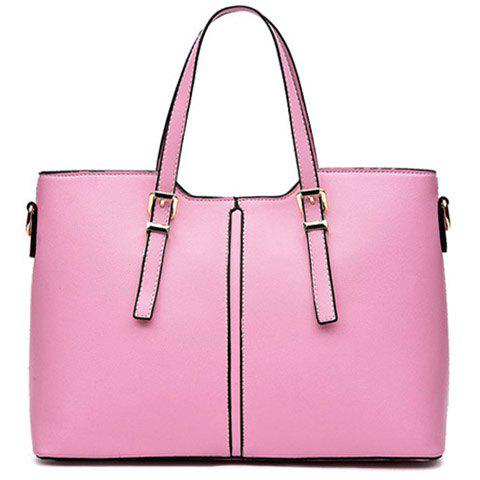 Sale Concise Solid Color and Buckles Design Tote Bag For Women PINK