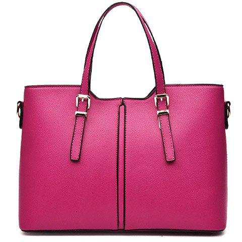 Online Concise Solid Color and Buckles Design Tote Bag For Women