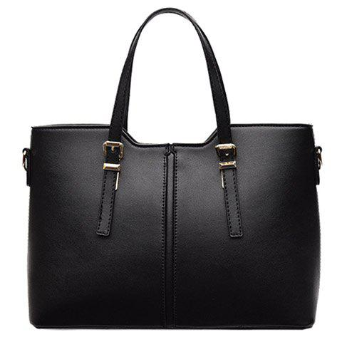 Concise Solid Color and Buckles Design Tote Bag For Women - Black - Horizontal