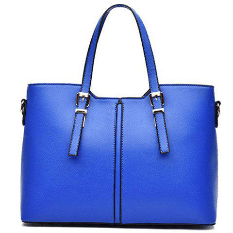 Affordable Concise Solid Color and Buckles Design Tote Bag For Women - BLUE  Mobile