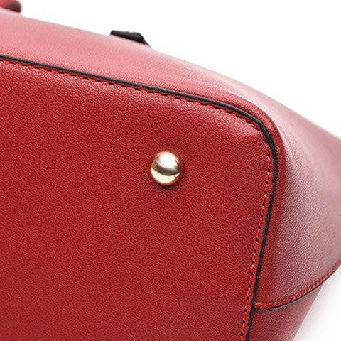 Latest Concise Solid Color and Buckles Design Tote Bag For Women - WINE RED  Mobile