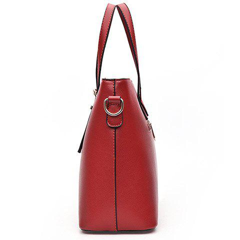 Best Concise Solid Color and Buckles Design Tote Bag For Women - WINE RED  Mobile