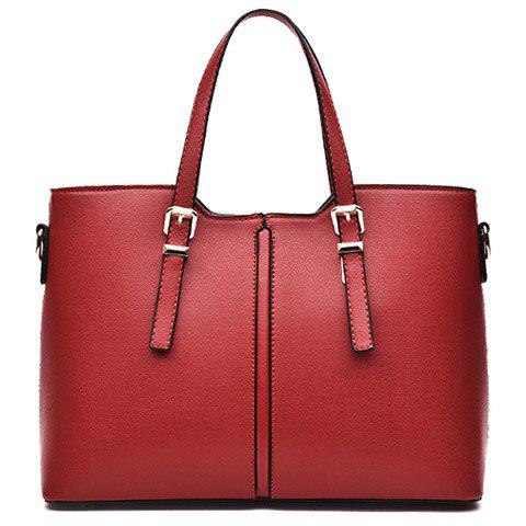 Fancy Concise Solid Color and Buckles Design Tote Bag For Women - WINE RED  Mobile