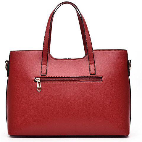 Cheap Concise Solid Color and Buckles Design Tote Bag For Women - WINE RED  Mobile