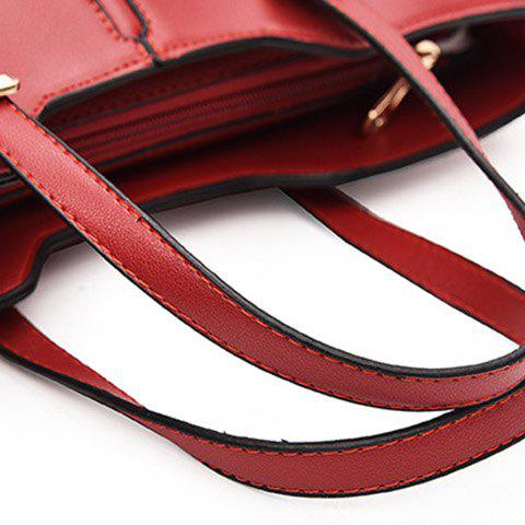 Sale Concise Solid Color and Buckles Design Tote Bag For Women - WINE RED  Mobile