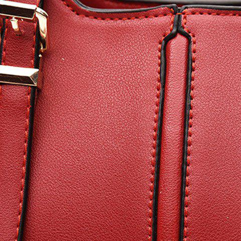 Online Concise Solid Color and Buckles Design Tote Bag For Women - WINE RED  Mobile