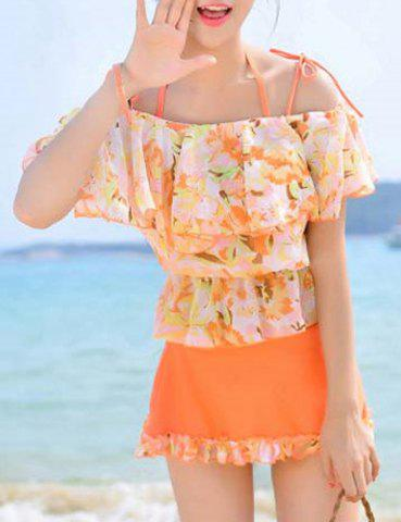 Outfit Sweet Short Sleeves Floral Print  Flouncing Four-Piece Bikini Set For Women