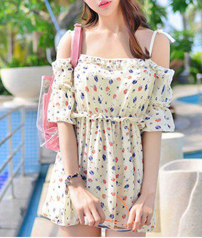 Chic Endearing Floral Print Dress and Spaghetti Strap Bikini Swimsuit For Women