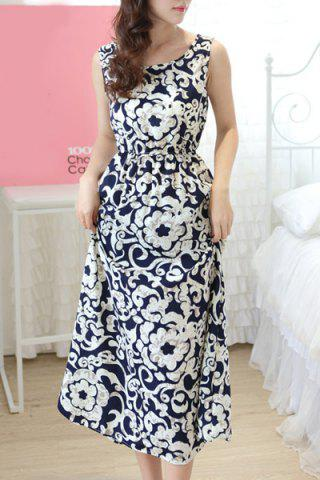Shops Trendy Scoop Neck Sleeveless Floral Print A-Line Dress For Women