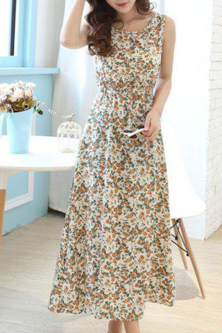 New Fashionable Scoop Neck Sleeveless Floral Print A-Line Dress For Women