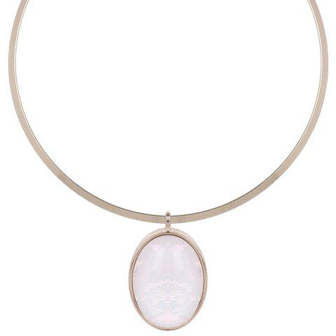 Cheap Artificial Gem Decorated Oval Pendant Necklace