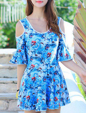 Affordable Sweet Scoop Collar Bell Sleeves Floral Print Swimming Suit For Women