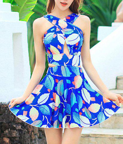 Chic Fashionable V Neck Sleeveless Cut Out Leaves Pattern Swimsuit For Women
