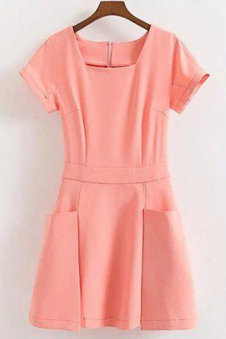 Hot Sweet Short Sleeve Pocket Design Solid Color Dress For Women