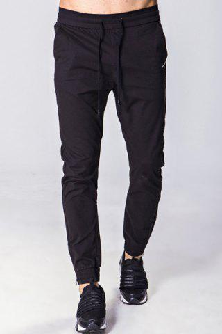 Buy Lace-Up Solid Color Embroidered Zipper Pocket Beam Feet Pants For Men
