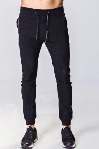Chic Lace-Up Solid Color Zipper Pocket Beam Feet Pants For Men