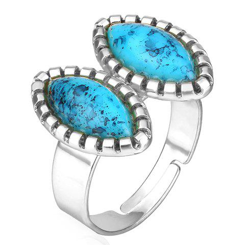 Outfits Chic Faux Turquoise Oval Ring For Women