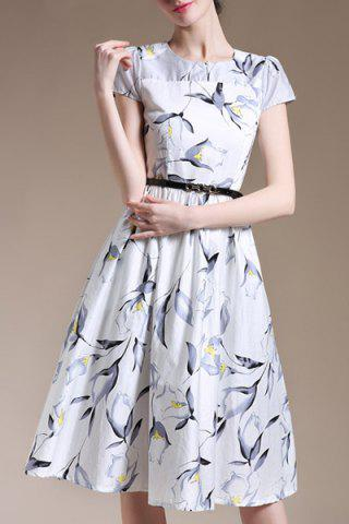 Sale Trendy Round Collar Short Sleeve Floral Print Slimming Women's Dress