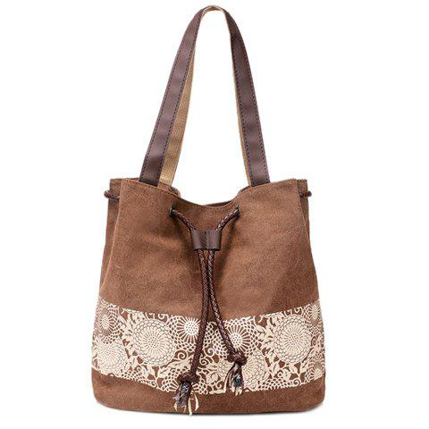 Affordable Simple Floral Print and Canvas Design Beach Shoulder Bag