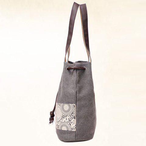 Buy Simple Floral Print and Canvas Design Beach Shoulder Bag - GRAY  Mobile