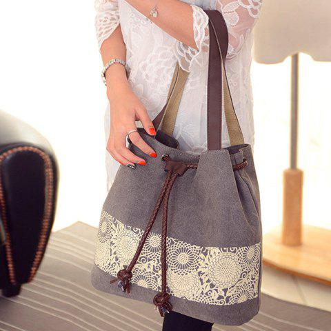 Store Simple Floral Print and Canvas Design Beach Shoulder Bag - GRAY  Mobile