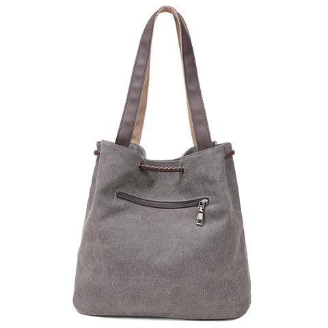 Sale Simple Floral Print and Canvas Design Beach Shoulder Bag - GRAY  Mobile