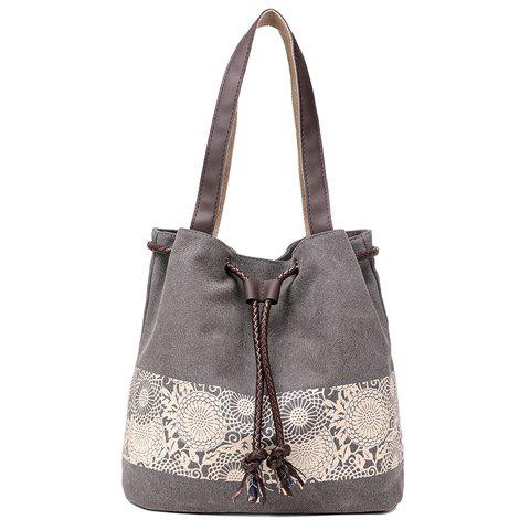 Fancy Simple Floral Print and Canvas Design Beach Shoulder Bag - GRAY  Mobile