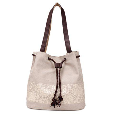 Buy Simple Floral Print and Canvas Design Beach Shoulder Bag OFF WHITE