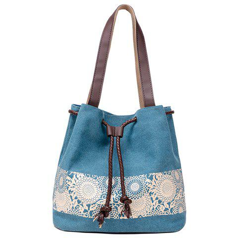 Sale Simple Floral Print and Canvas Design Beach Shoulder Bag